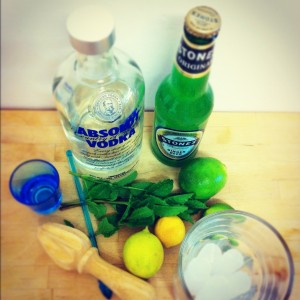 Vodka, ginger beer, limes, mint, ice and a tall glass.
