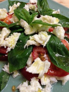 Buffalo mozzarella and tomato and basil salad