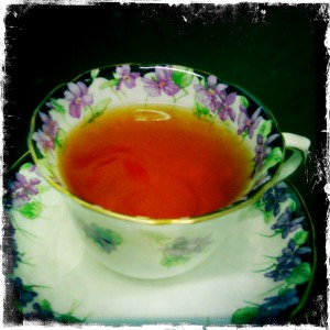 Lovely cup of earl grey tea in an heirloom cup and saucer