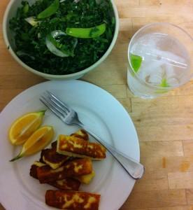Haloumi and homegrown salad